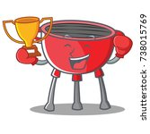boxing barbecue grill cartoon... | Shutterstock .eps vector #738015769