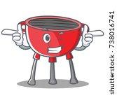 wink barbecue grill cartoon...   Shutterstock .eps vector #738016741