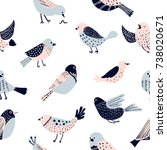 Stock vector colorful doodle bird seamless pattern collection of flat hand drawn birds cute background for 738020671