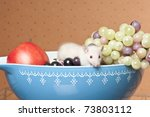 White rat sitting in a bowl surrounded by fruit - stock photo