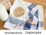 homemade granola with nuts and... | Shutterstock . vector #738041899