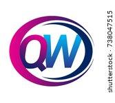 Initial Letter Logo Qw Company...