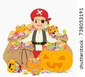 happy boy in pirate costume... | Shutterstock .eps vector #738053191
