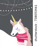 magical unicorn with winter... | Shutterstock .eps vector #738053461