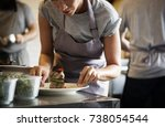 chef working and cooking in the ... | Shutterstock . vector #738054544