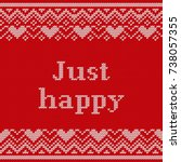 just happy. knitting seamless... | Shutterstock .eps vector #738057355
