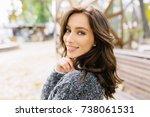 close up portrait of sensitive... | Shutterstock . vector #738061531