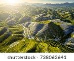 aerial mountain solar... | Shutterstock . vector #738062641