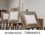sheets of paper on easels | Shutterstock . vector #738064021