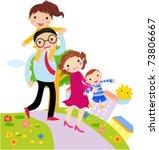 Vector Cartoon Of Happy Family
