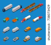 isometric icons set with trucks ... | Shutterstock .eps vector #738073429