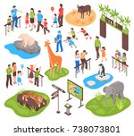 city zoo isometric set with... | Shutterstock .eps vector #738073801