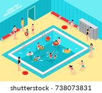 isometric swimming pool... | Shutterstock .eps vector #738073831