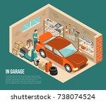 garage inside on green... | Shutterstock .eps vector #738074524