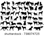 Stock photo  isolated silhouette of a dog collection 738074725