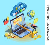 data encryption cyber security...   Shutterstock .eps vector #738075661