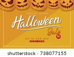 halloween sale background with... | Shutterstock .eps vector #738077155