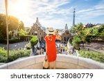 woman tourist in red dress... | Shutterstock . vector #738080779
