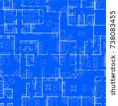 white house floor plan with... | Shutterstock .eps vector #738083455