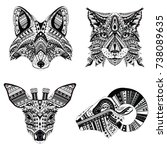 set of patterned heads of lynx  ...   Shutterstock .eps vector #738089635