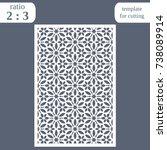 laser cut wedding card template ... | Shutterstock .eps vector #738089914