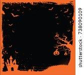 the square halloween banner... | Shutterstock .eps vector #738090109