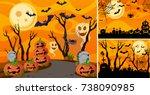 three background with halloween ... | Shutterstock .eps vector #738090985