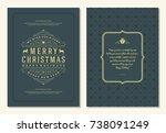 christmas greeting card design... | Shutterstock .eps vector #738091249