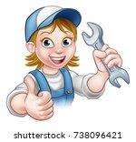 a plumber or mechanic handyman... | Shutterstock . vector #738096421