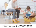 children anxiety and depression ... | Shutterstock . vector #738097729