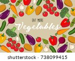 eat more vegetables   hand... | Shutterstock . vector #738099415