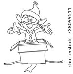 outlined happy elf popping out... | Shutterstock .eps vector #738099511