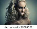 High fashion female model beauty shoot. Retouched by professional retoucher. - stock photo