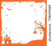 the square halloween banner... | Shutterstock .eps vector #738099889