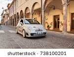 """Small photo of MELDOLA, FC, ITALY - OCTOBER 10: driver and passenger on a small Italian sports car Fiat 500 Abarth esseesse in car rally """"Citta di Meldola"""" on October 10, 2017 in Meldola FC, Italy"""