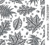 engraving seamless pattern of... | Shutterstock .eps vector #738105889