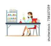 woman scientist in laboratory... | Shutterstock .eps vector #738107359
