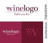 wine logo   vector illustration ... | Shutterstock .eps vector #738109294