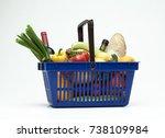 supermarket shopping basket... | Shutterstock . vector #738109984