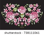 pink vintage flower embroidery... | Shutterstock .eps vector #738111061