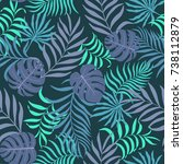 tropical background with palm... | Shutterstock .eps vector #738112879