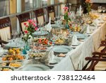 beautiful festive table served... | Shutterstock . vector #738122464