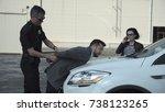 police officer ordering... | Shutterstock . vector #738123265