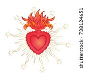 sacred heart of jesus with rays.... | Shutterstock .eps vector #738124651