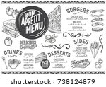 food menu for restaurant and... | Shutterstock .eps vector #738124879