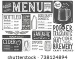 beer drink menu for restaurant... | Shutterstock .eps vector #738124894