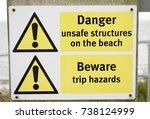 a danger sign unsafe keep away. | Shutterstock . vector #738124999