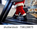 santa claus in the gym doing... | Shutterstock . vector #738128875