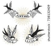 set of retro style tattoo with...   Shutterstock .eps vector #738132409