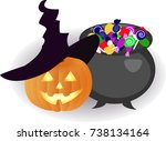pumpkin in a hat and a bowler... | Shutterstock .eps vector #738134164